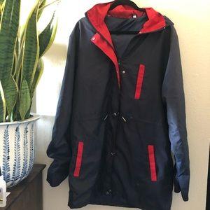Vintage raincoat windbreaker hooded zip jacket